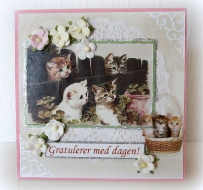Birthday card with cat sticker and paper flowers. Moski