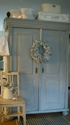 Old antique armoire for storage.