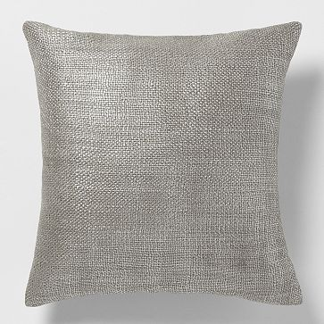 Metallic Brush Pillow Cover – Silver #westelm for the brown couch.  Acts as a grey pillow but b/c it's metallic, it adds a touch of understated glamour.: