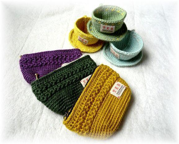 かぎ針編みのポーチと小物入れ 2x