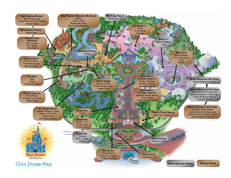 Coin Press Location Maps For Magic Kingdom Epcot Animal