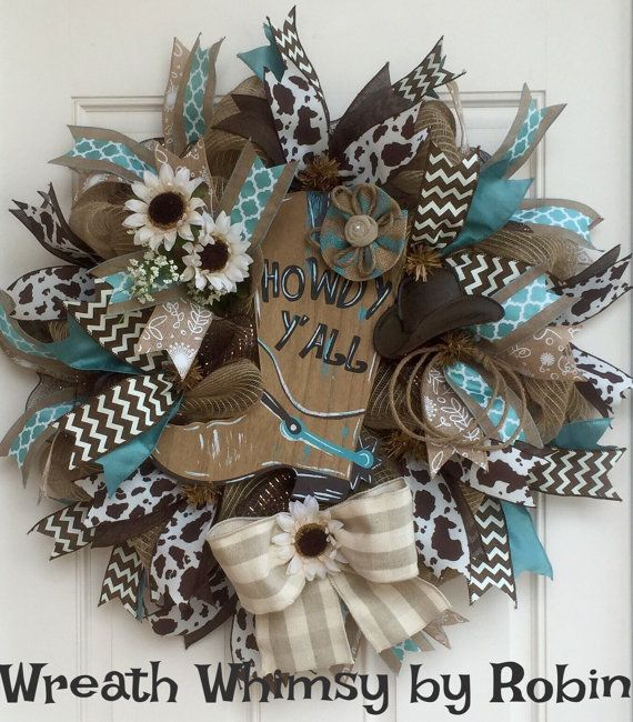 Deco Mesh Cowboy Boot Wreath in Tan, Brown and Turquoise, Front Door Wreath, Western Decor, Rodeo Wreath, Country Decor, Boot Wreath