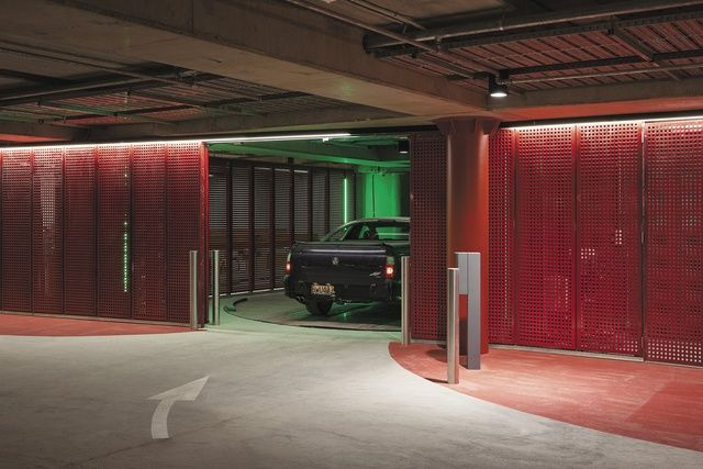 Geyser's underground car park. A 'robotic' 165-car stacking system whisks cars away into a compact space devoid of human activity / Patterson Architects / Image: Simon Devitt