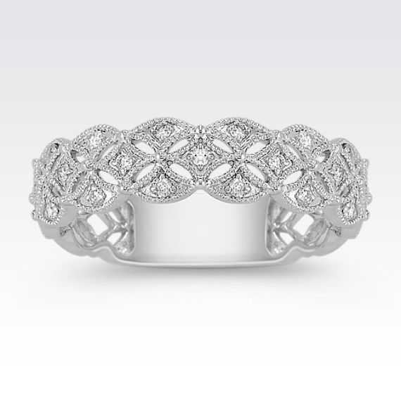 Fabulous This karat white gold ring has a unique woven design The ring features Vintage Wedding BandsDiamond