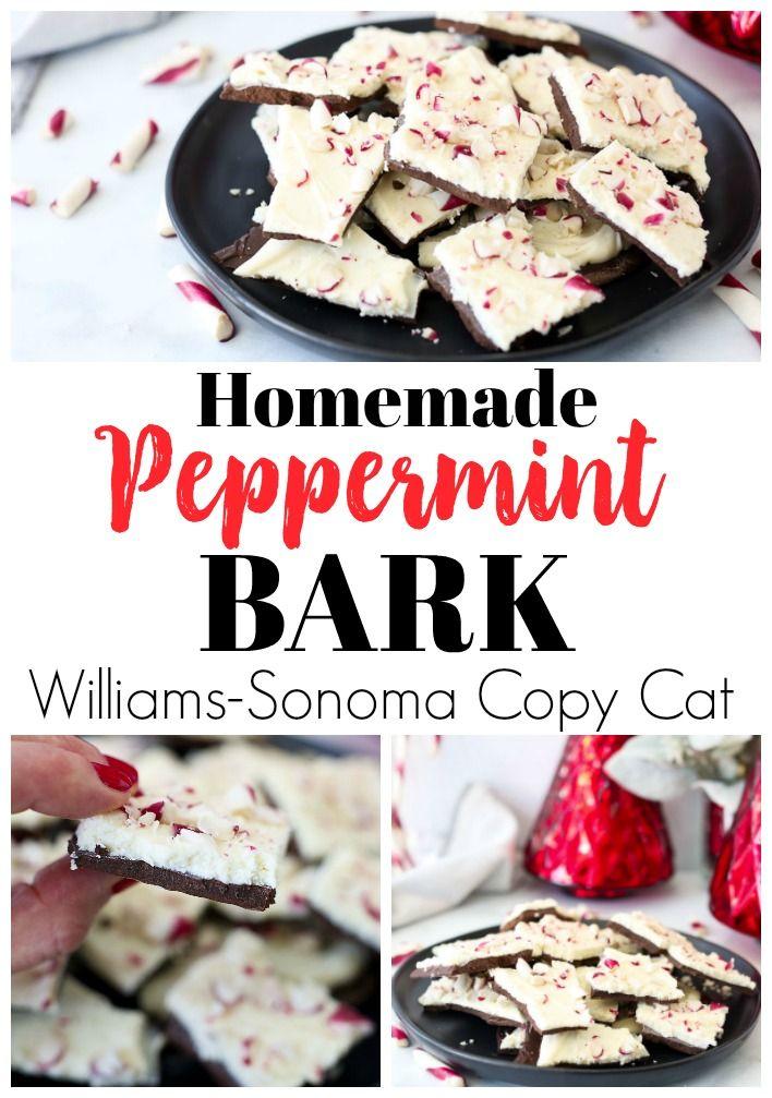 Homemade Peppermint Bark Recipe Williams-Sonoma Copy Cat #christmasrecipes #chocolate #peppermint #homemadegiftideas