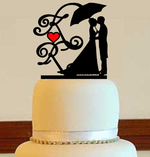 Acrylic Wedding Cake Topper with 2 Initials and your choice of font and color
