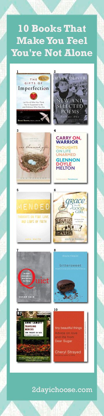 10 Books That Make You Feel You're Not Alone:1) The Gifts of Imperfection-Brene Brown 2) New and Selected Poems Vol. 1-Mary Oliver 3) 1000 Gifts-Ann Voskamp 4) Carry On Warrior-Glennon Melton 5) Mended-Anna White 6) Grace for the Good Girl-Emily Freeman 7) Quiet-Susan Cain 8) Bittersweet-Shauna Niequiest 9) Traveling Mercies-Anne Lamott 10) Tiny Beautiful Things-Cheryl Strayed  #2dayichoose #books #ebooks #goodreads #reading www.2dayichoose.com