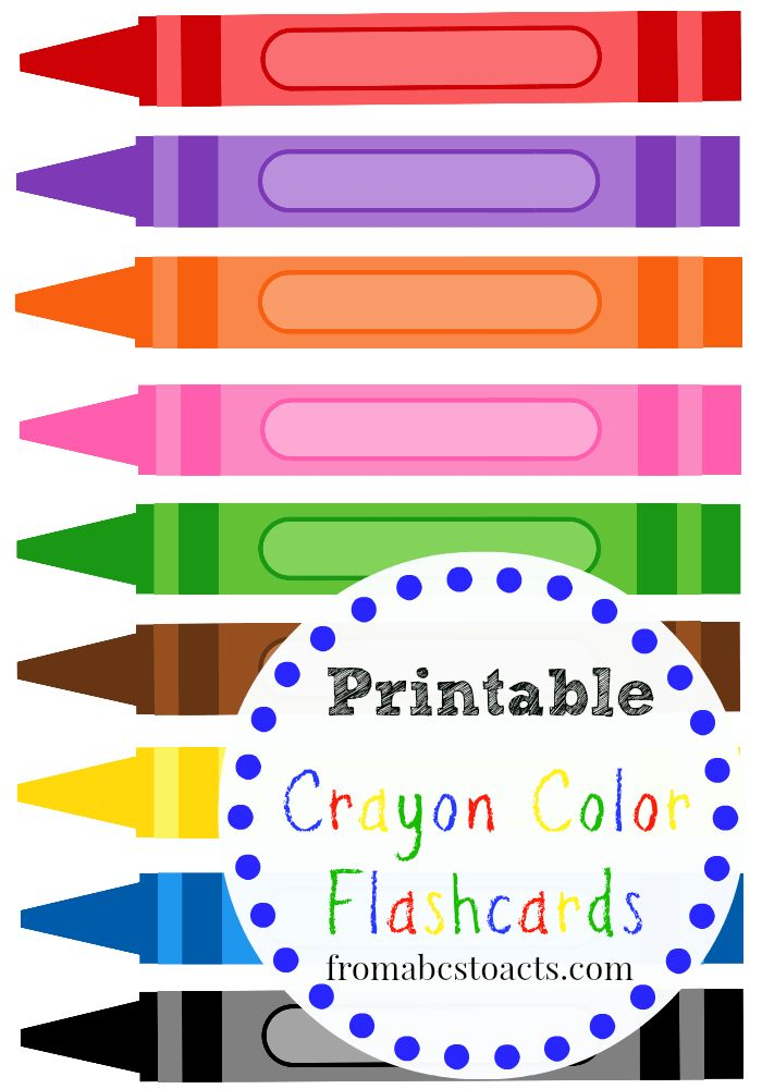 Printable Crayon Color Flashcards for Kids