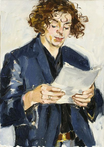 Sandra Fisher Man Reading 1994 oil on canvas, 14 x 10 inches Collection of Max Kitaj (c) Estate of Sandra Fisher