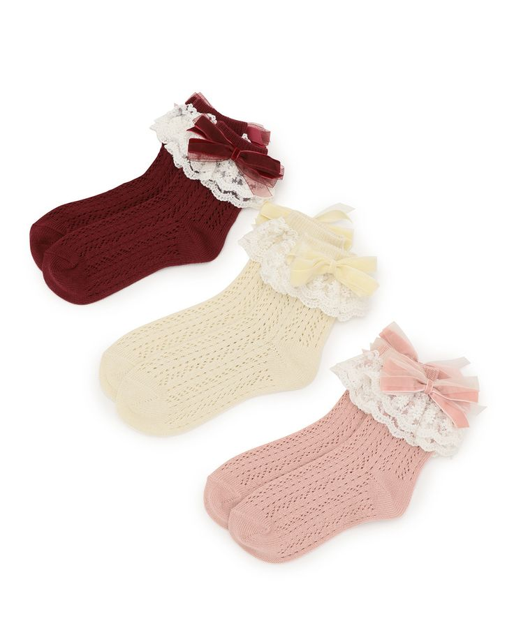 These cute **Lacy Socks** from **LIZ LISA** feature a warm winter-inspired design! It's easy to fall in love with the beautiful way in which they're sewn, but you can't help noticing the layered lace along the top! These socks are available in **white, pink,** and **bordeaux,** and also come with **removable ribbons** so you can begin putting your perfect outfit together starting with your feet!