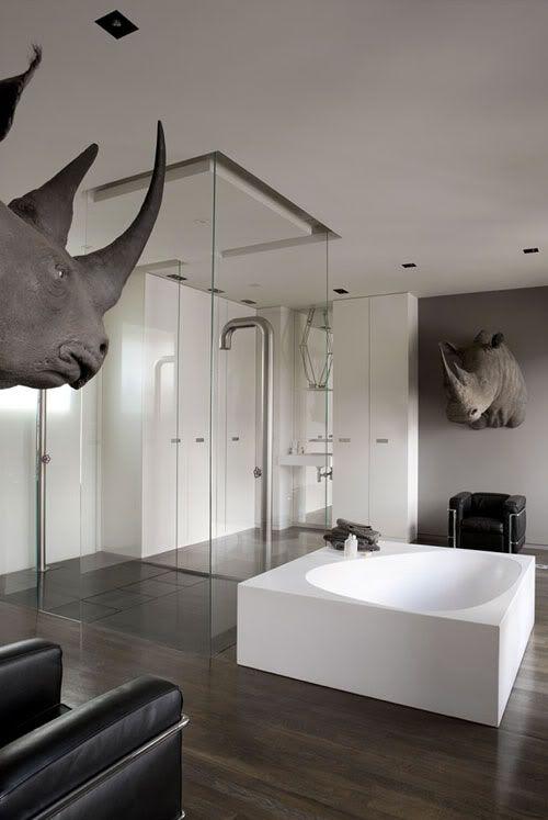 great bath and rhinos!