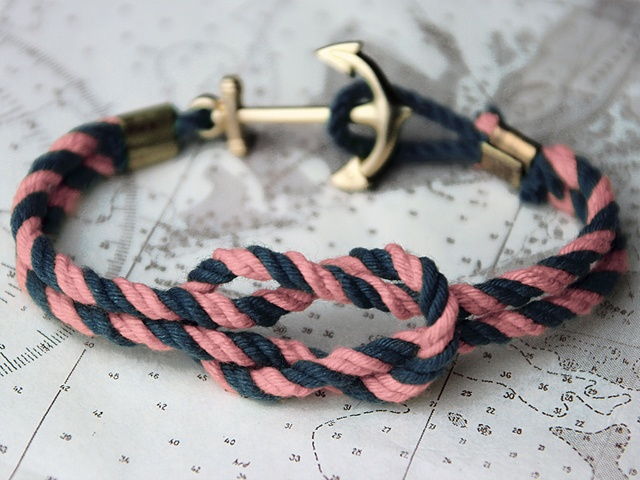 Rope Bracelet. Check the sweet anchor!: The Knot, Anchors Bracelets, Ropes Bracelets, Bridesmaid Gifts, Diy Bracelets, Nautical Bracelets, Nautical Ropes, Knot Bracelets, Friendship Bracelets