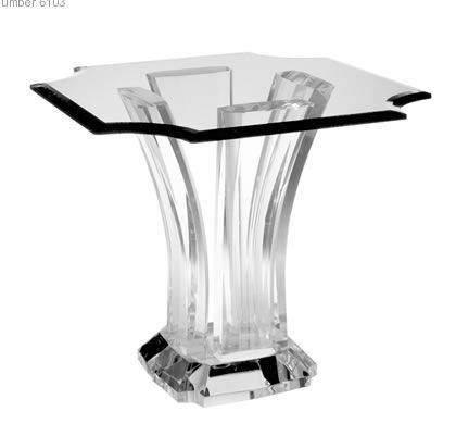 Acrylic End Table With Graceful Curves