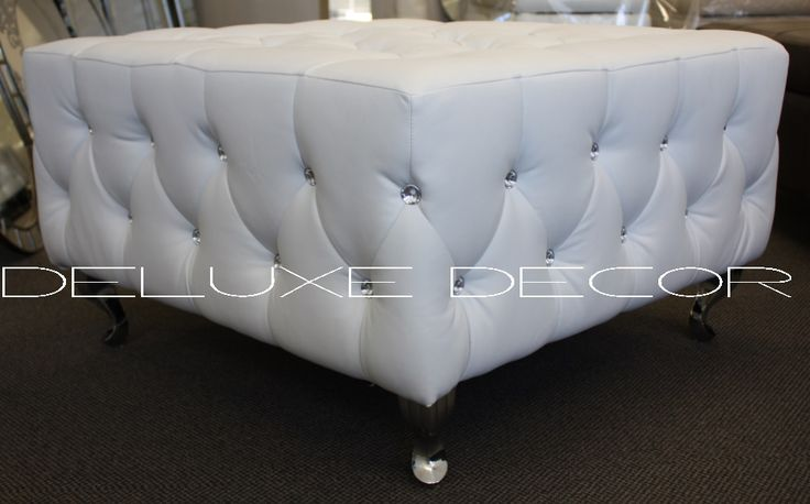 Monique Modern White PU Leather Crystal Buttoned Square Ottoman Seat http://deluxedecor.com.au/products-page/monique-collection/page/2/