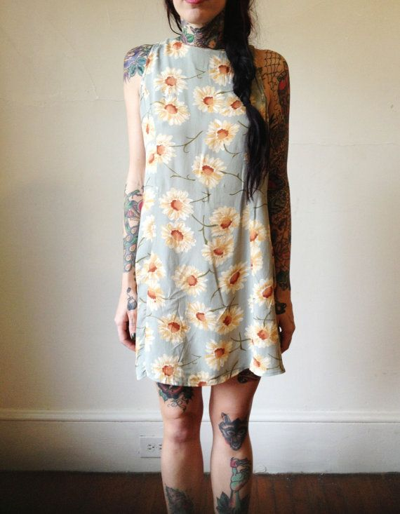90s grunge a-line mini sleeveless sunflower dress/ small/ medium