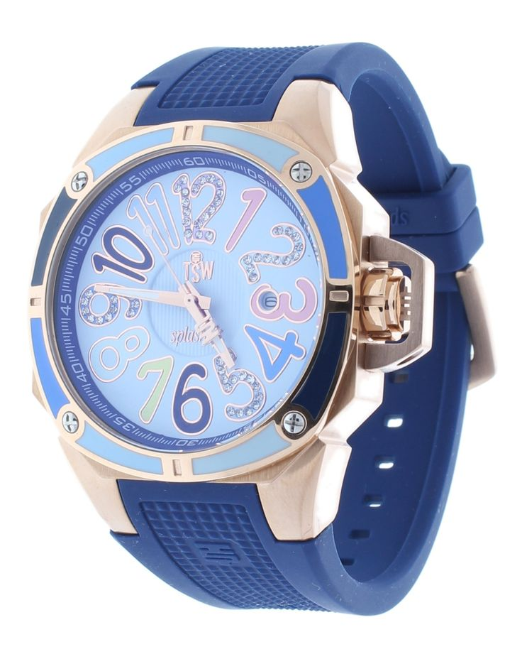 Technosport TS-200-SPLASH3 Women's Blue Watch Swarovski Multicolor Colorful Dial Markers Rose-Tone Case