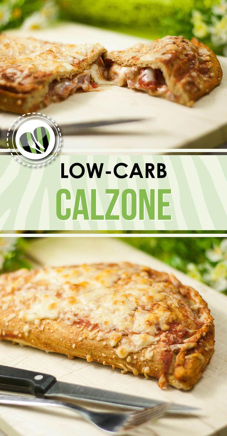 Die low-carb Calzone ist aus richtigem Teig der aber auch glutenfrei ist. Gefüllt ist sie mit viel Käse.