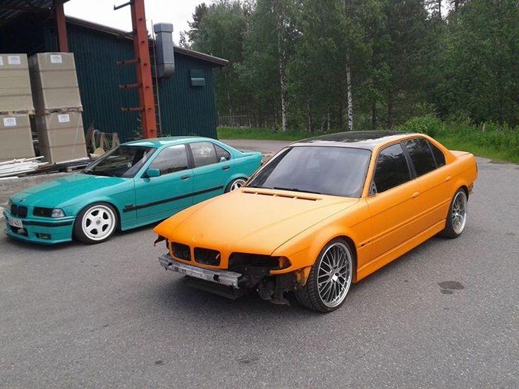 Juho on urakoinut. Hän on maalannut kevättalvella e36 BMW:n bemarin omalla Fiji Green välillä ja muutama viikko sitten BMW:n e38. Sen väriksi tuli Audin mattaoranssi ja katto Superblackilla.