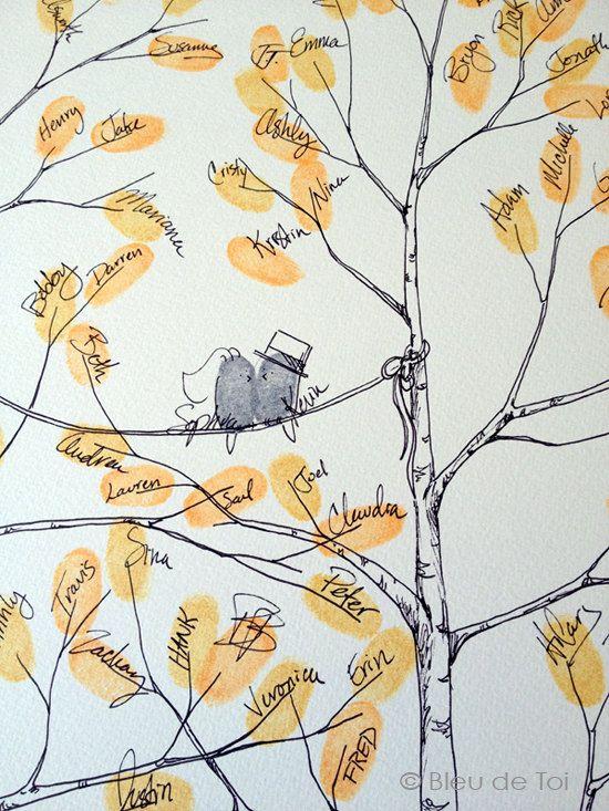 Fingerprint Tree Wedding Guest Book Alternative by bleudetoi