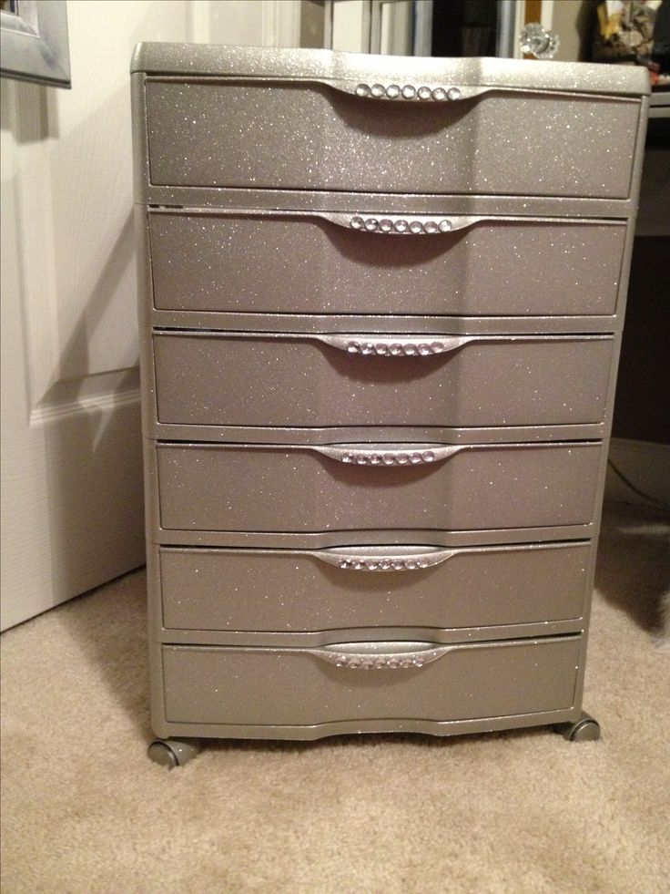 Plastic 6 drawer bin from Walmart... Spray paint , glitter and crystal stickers!!! Great for makeup storage