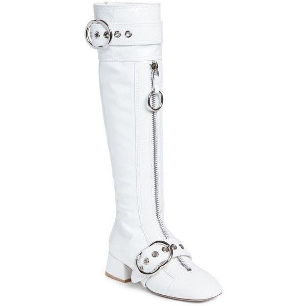 Women's Miu Miu Buckle Tall Boot (£640) ❤ liked on Polyvore featuring shoes, boots, white, white knee high boots, white high boots, tall white boots, knee high buckle boots and white boots
