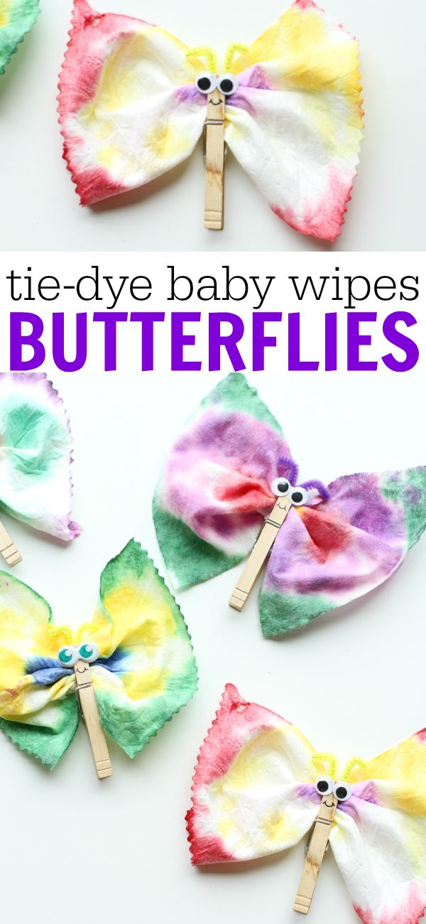 Tie-Dye Baby Wipes Butterflies:  Such a fun and easy art project for kids! (kids activities, spring crafts, upcycle)