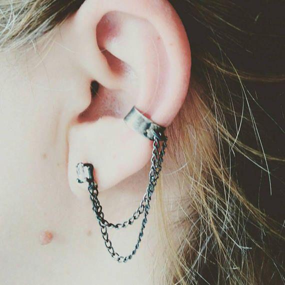 Drop. Herkimer diamond post earring with sterling silver ear