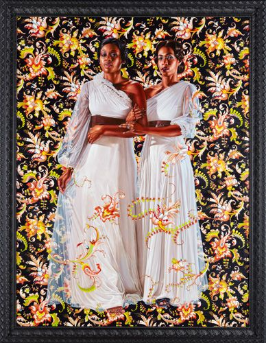 "Kehinde Wiley The Two Sisters, 2012 Oil on linen 96"" x 72"""