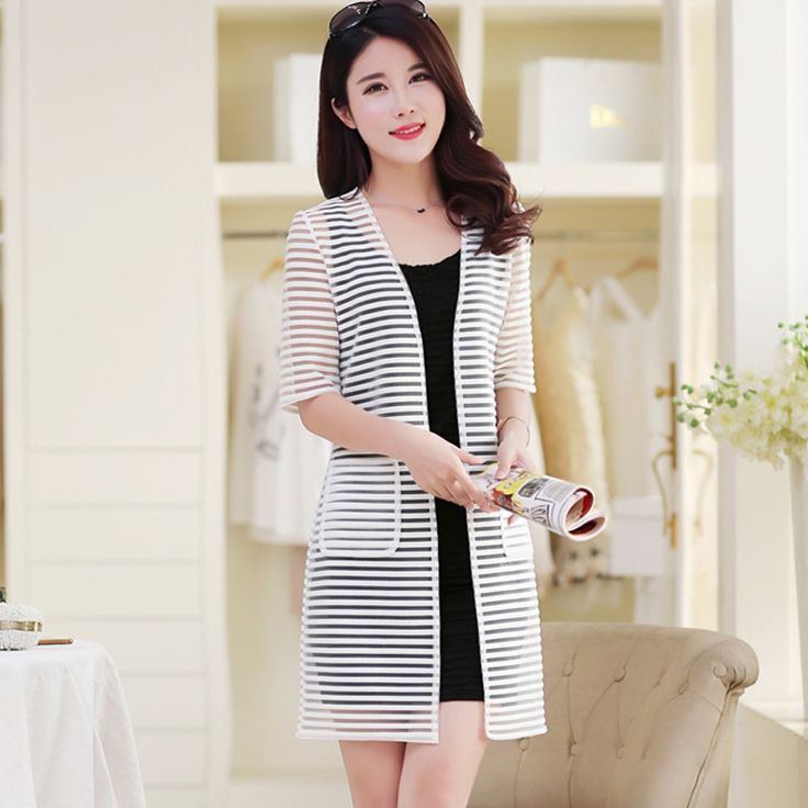 Hot Sale 2015 Women Summer Striped Trench Coat Fashion Ladies Mesh Protection Cardigans Coats Women Summer Blouses Tops H5138