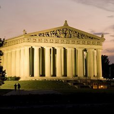 The Parthenon in Nashville, Tennessee stands in Centennial Park. The structure was constructed for the 1897 Centennial Exposition as an original replica of the structure from Athens, Greece. This landmark is a major attraction in the Nashville, Tennessee