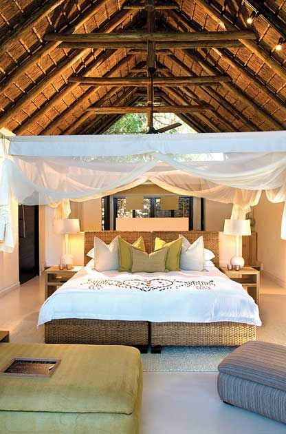 20 thatched Suites overlook the unfenced African bush, or the Sabie River. Each of the beautifully appointed Luxury Suites has bathroom en-suite, lounge area with mini bar, and wooden deck from which to appreciate the wilds beyond. #LionSands #RiverLodge #LuxuryLodge #LuxuryTravel #MOREplaces