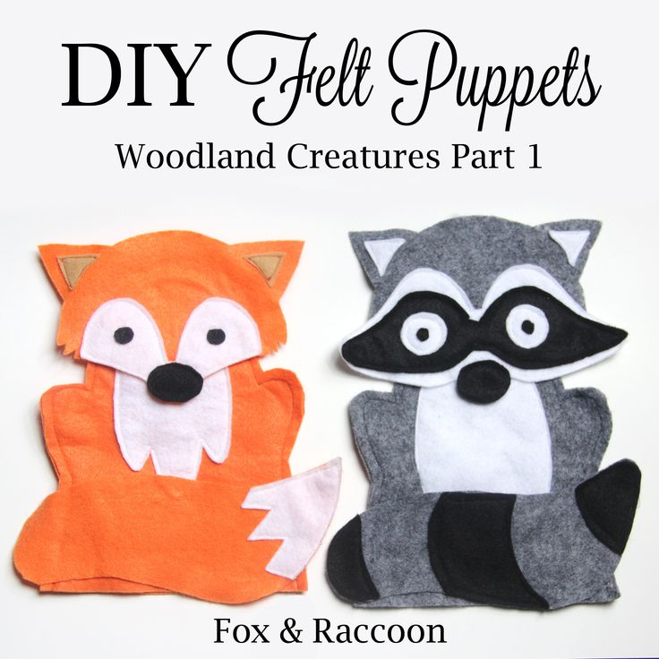 Free Fox & Raccoon Felt Puppet Patterns and Directions.