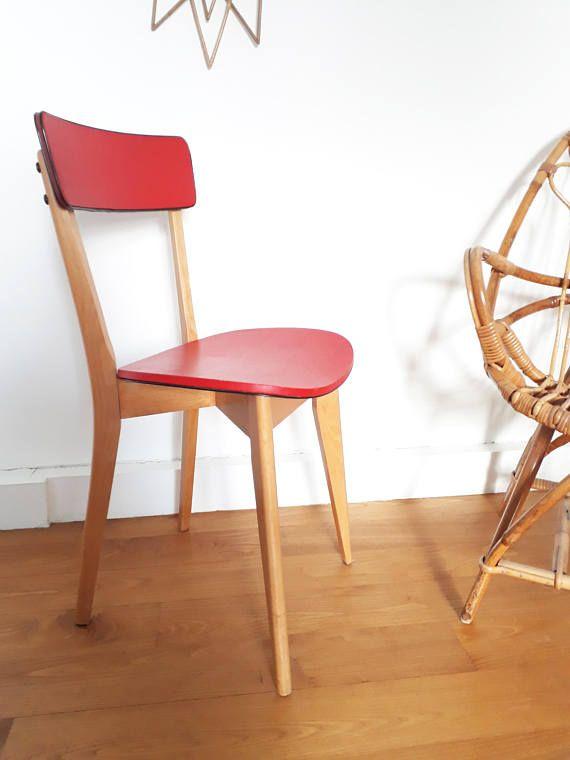 Chaise Vintage Design Annees 50 Style Scandinave Skai Rouge Etsy Design Vintage Designs Decor