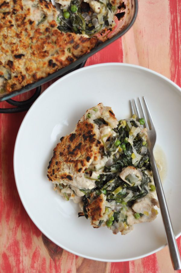 A healthy alternative to chicken pot pie. A white bean and rosemary crust top the chicken, spinach and leeks in a creamy…