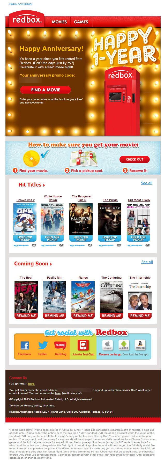14 best email creative anniversary images on pinterest email sent sl your anniversary freebie is inside great customer anniversary email from redbox including a coupon for a free movie
