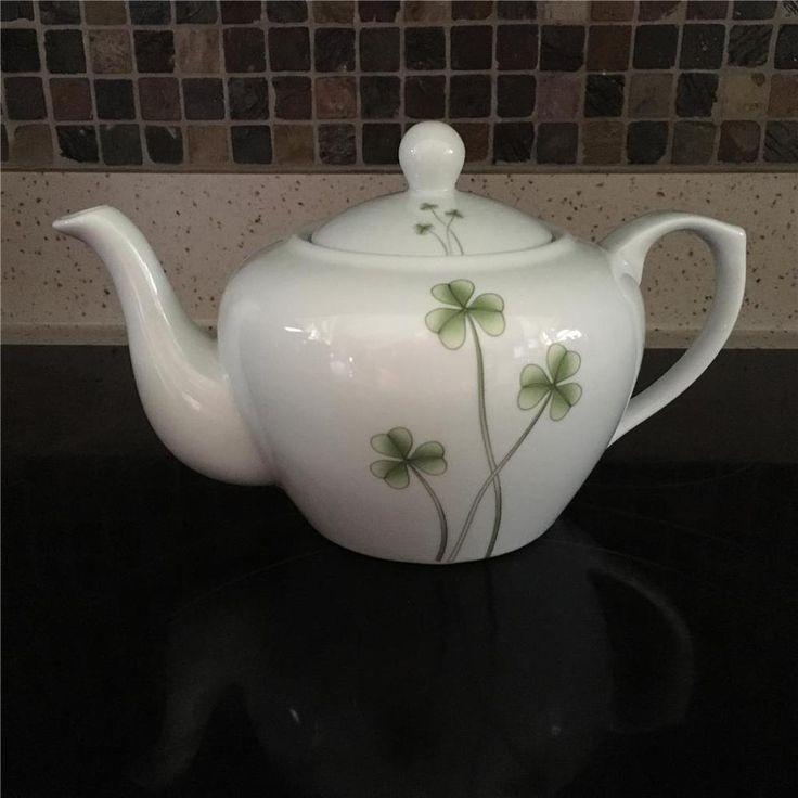 Marcus Notley Ireland 2006 White Porcelain Teapot Shamrock Green Clover #MarcusNotley