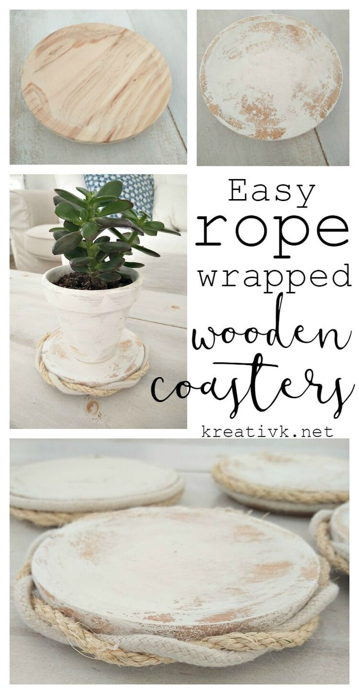easy rope wrapped wooden coasters kreativk.net