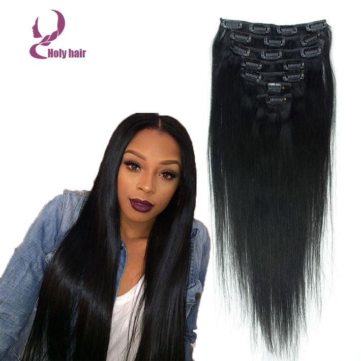 20 best holy hair clip in hair extensions images on pinterest 7a grade 100 brazilian virgin natural hair clips in extensions 7pcsset full head natural black straight hair clip ins pmusecretfo Images