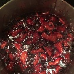Strips of dough are cooked in a simmering blackberry sauce. A perfect recipe for summer blackberries. Delicious warm, cold, or with a scoop of vanilla ice cream.