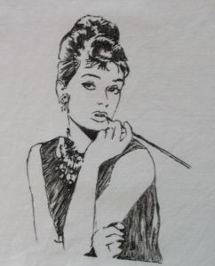 Koszulka dziewczęca z krótkim rękawem ręcznie malowana - Audrey