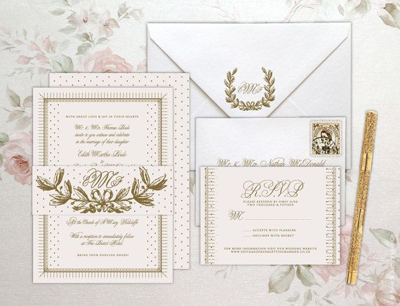 SAMPLE Edith Suite Wedding Invitation Elegant Ivory Gold Heart Olive Wreath…
