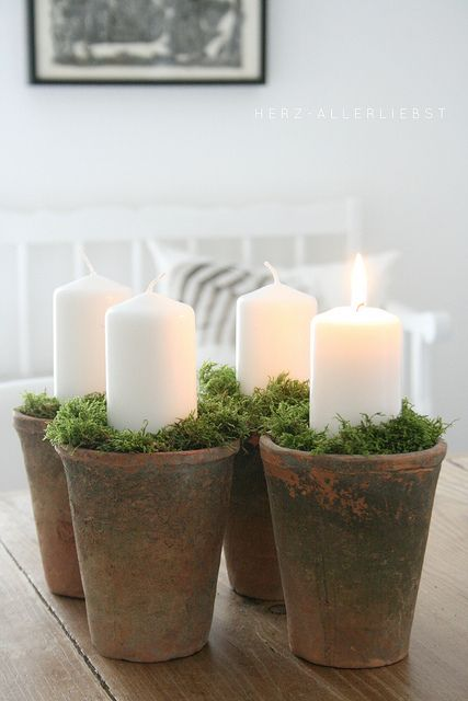 ~weathered clay pots with moss and candles~ use Deb's French votives
