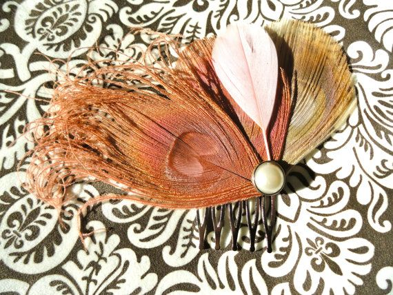 LISETTE in Pink and Ivory Peacock Feather Hair Comb by Lucyohlucy, $19.00: Peacock Feathers, Feather Hair, Ivory Peacock, Feathers Hair, Dusty Rose, Hair Combs