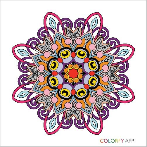 Mandala By Rellert Colorfy Your World App Colorfyapp Getinspired Cute Beautiful Colorful Coloring Therapy Joy