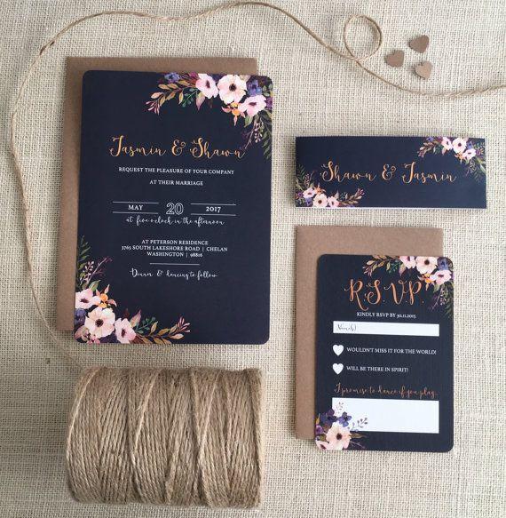 Blumen blühen Hochzeitseinladung mit passenden RSVP von NessaNoelle