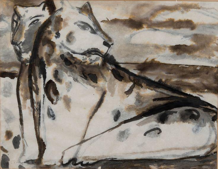 Leena Luostarinen (Finnish, 1949-2013), LEOPARDS, 1981. Watercolour on paper, 46 x 61 cm