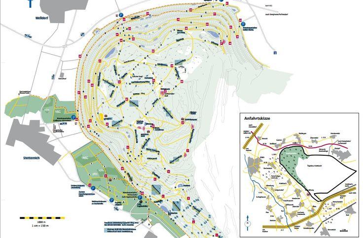 Wandern auf der Sophienhöhe - 200 Meter hohe Tagebau Abraumhalde bei Jülich. Ein über 70 km langes Netz von Wanderwegen, die zum Teil auch für Radfahrer und Reiter freigegeben sind.