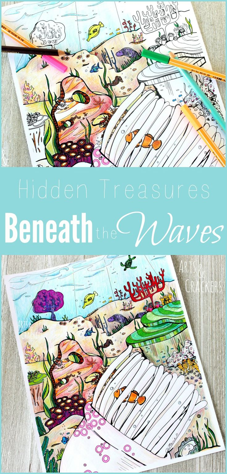Under the sea coloring book for adults - Hidden Treasures Ocean Coloring Page