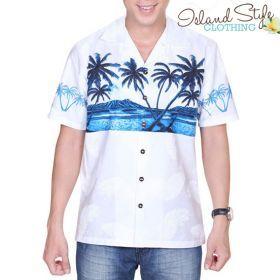 Mens Cotton Hawaiian Shirt White Diamond Surf Casual Aloha