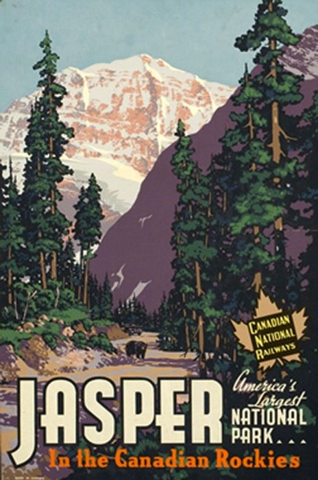 vintage travel poster for Jasper, Alberta, Canada (1939)